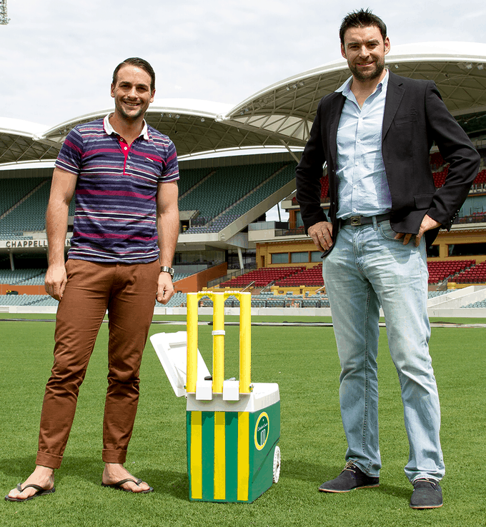 Adam and Leigh with the Cricket Cooler